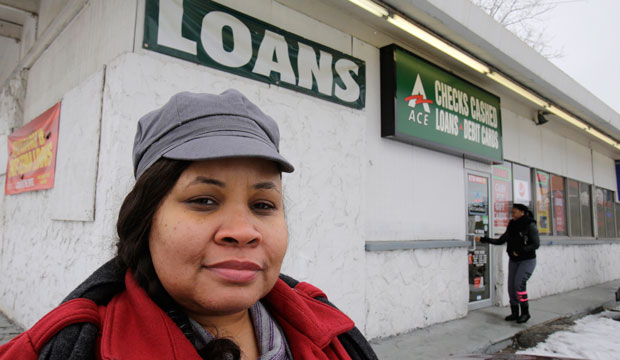 On January 22, 2015, Maranda Brooks stands outside a payday loans business that she frequented in the past in Cleveland, Ohio.