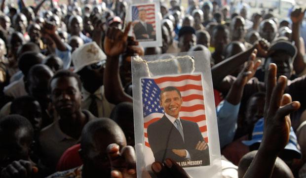 Kenyans celebrate the victory of President-elect Barack Obama on November 5, 2008, in Kisumu, Kenya.