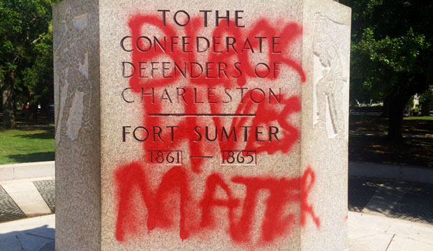 "A statue memorializing the Confederacy spray-painted with the message ""Black Lives Matter"" in Charleston, South Carolina, June 2015."