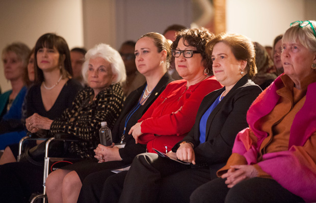 Supreme Court Justices Elena Kagan and Sonia Sotomayor sit with former Justice Sandra Day O'Connor and others at the Seneca Women Global Leadership Forum, April 2015, at the National Museum of Women in the Arts in Washington.