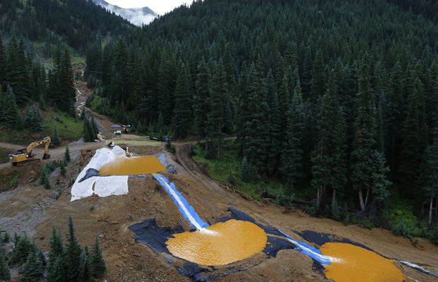 Water flows through a series of retention ponds near the Gold King Mine in Silverton, Colorado, August 12, 2015.