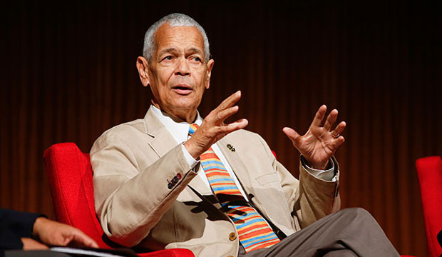"Former NAACP Chairman Julian Bond takes part in the ""Heroes of the Civil Rights Movement"" panel during the 2014 Civil Rights Summit in Austin, Texas."