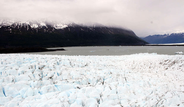 Ice covers the landscape on Colony Glacier, northeast of Anchorage, Alaska, June 10, 2015.
