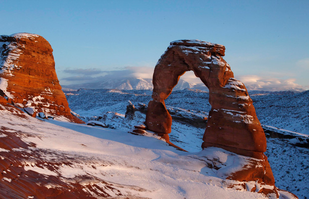 The Delicate Arch at Arches National Park near Moab, Utah, is seen in December 2010.