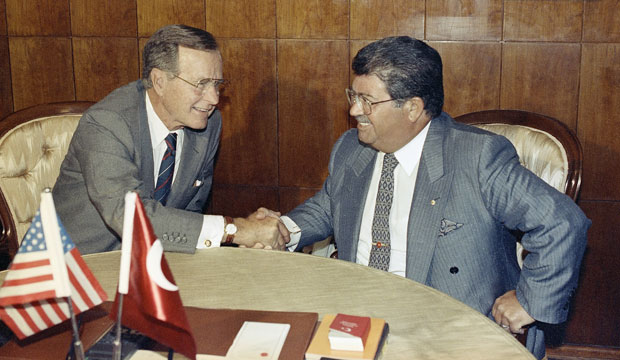 U.S. President George H.W. Bush meets with Turkish President Turgut Özal prior to talks in Ankara on July 20, 1991.