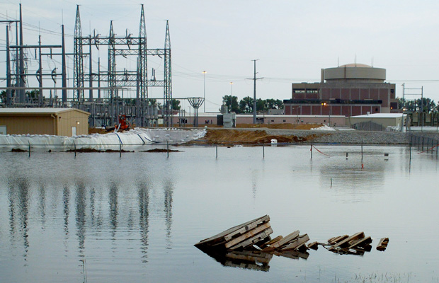 Floodwaters from the Missouri River surround the Fort Calhoun nuclear station in Nebraska, June 2011.