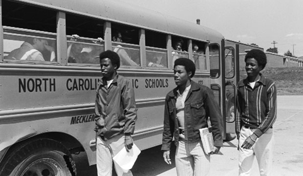 West Charlotte High School students leave a bus on May 15, 1972.