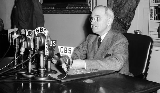 President Harry S. Truman broadcasts a message opening the conference that would form the United Nations in San Francisco on April 25, 1945.