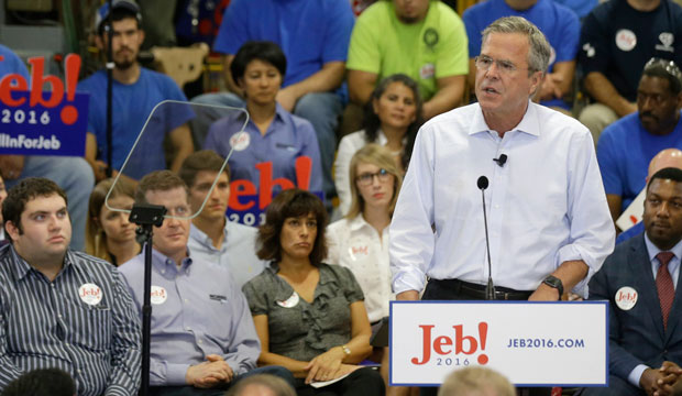 Gov. Jeb Bush details his tax reform plan in a speech at Morris & Associates in Garner, North Carolina, on September 9, 2015.