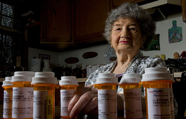 Luillia Van Lanen is seen with some of her prescription medication in her apartment, March 2007, in Madison, Wisconsin.