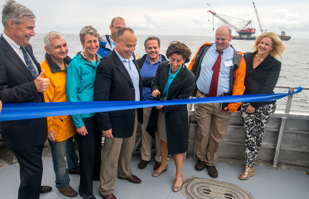 Rhode Island Gov. Gina Raimondo (D) and other dignitaries symbolically commence construction of the Block Island Wind Farm at a ribbon cutting ceremony on July 27, 2015.