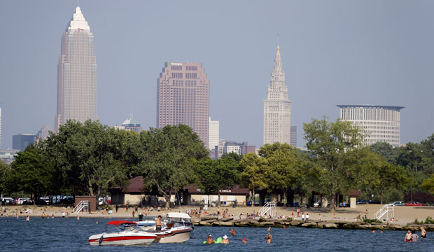 Boaters and swimmers cool off in Lake Erie at Edgewater Beach in Cleveland on September 10, 2013.