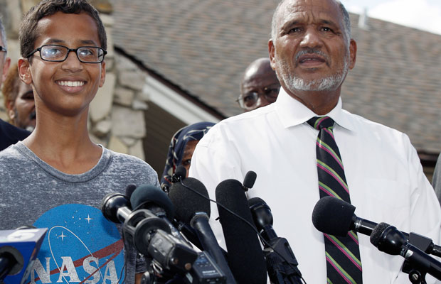 Ahmed Mohamed and his father thank supporters during a news conference in Irving, Texas. Ahmed was arrested last week after a teacher thought a homemade clock he built was a bomb.