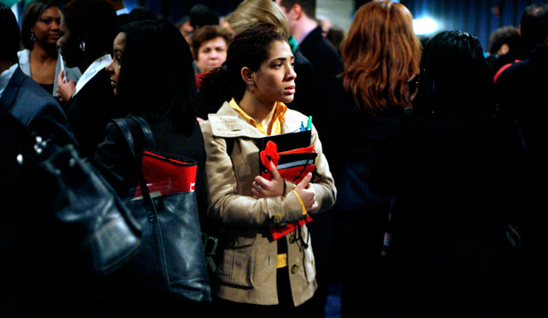 Job seekers make their way through the large crowd at the Women For Hire Career Expo in New York City in 2009.
