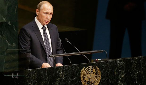 Russian President Vladimir Putin addresses the 70th session of the U.N. General Assembly on September 28, 2015.