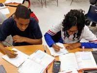 high school students at desks