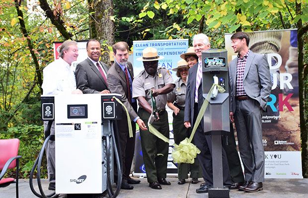 Pictured is a ribbon cutting for newly installed charging infrastructure during the Great Smoky Mountains alternative fuel kick-off events, September 30, 2015.