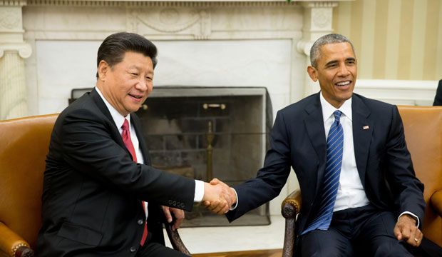 President Barack Obama shakes hands with Chinese President Xi Jinping during their meeting in Washington, D.C., on September 25, 2015.