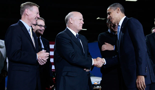 President Barack Obama with the CEOs of major automakers announcing new tail pipe emissions standards. One notable absence was Jonathan Browning, the then president and CEO of Volkswagen Group of America, July 2011.