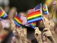 LGBT and U.S. flags wave
