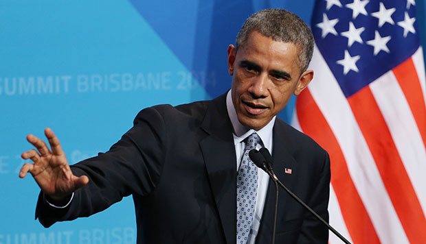 President Barack Obama gestures as he answers a question from the media during a press conference at the conclusion of the G-20 summit in Brisbane, Australia, November 16, 2014.