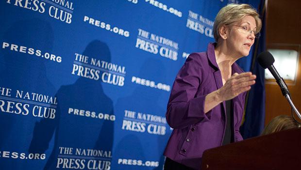 Sen. Elizabeth Warren (D-MA) speaks at the National Press Club in Washington, November 18, 2015.