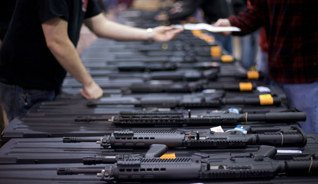 A row of weapons is seen at a gun show, March 2008.