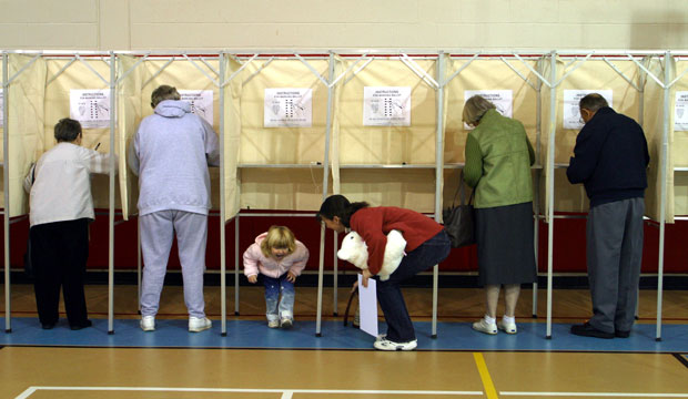 A voting booth in a community center, November 2004.