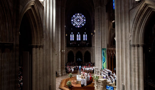Episcopal Church Presiding Bishop Michael Curry speaks during Mass at the Washington National Cathedral on November 1, 2015.