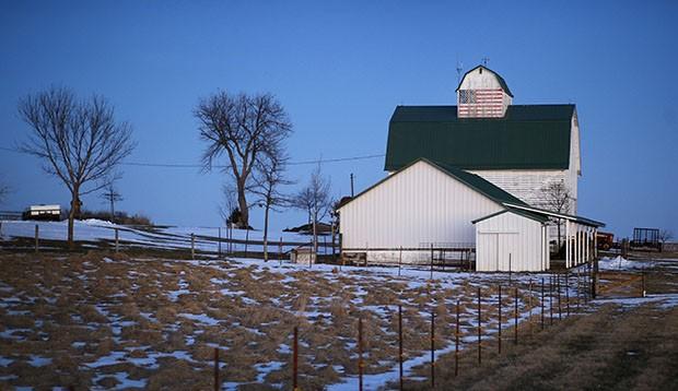 Iowa barn with flag