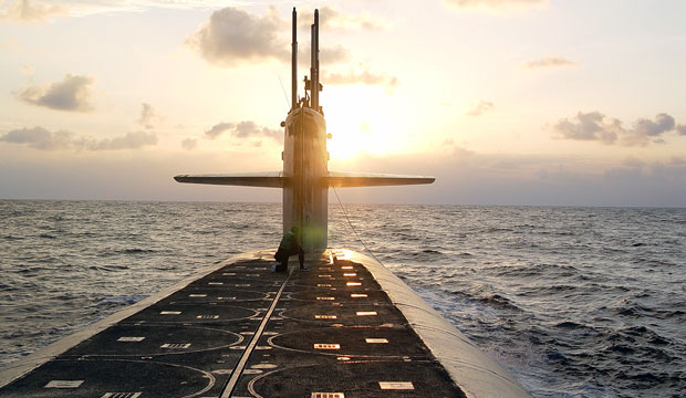 The Ohio-class ballistic-missile submarine USS Wyoming approaches Naval Submarine Base Kings Bay, January 2008.