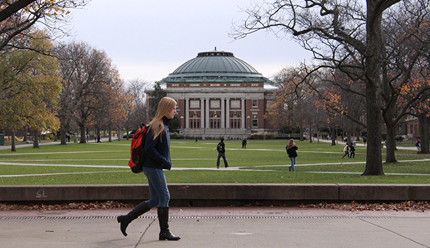 University of Illinois students walk across the Main Quad on campus in Urbana, Illinois, November 2015.