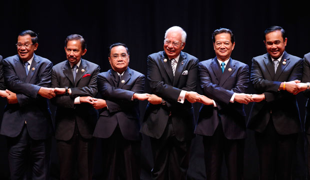 Leaders of the Association of Southeast Asian Nations, or ASEAN, at the opening ceremony of the 27th summit in Kuala Lumpur, Malaysia, on November 21, 2015.