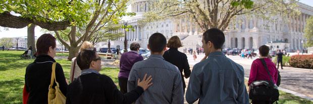 LGBT activists lobby Senators.
