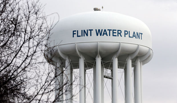 A February 2016 photo of the Flint Water Plant tower in Michigan.