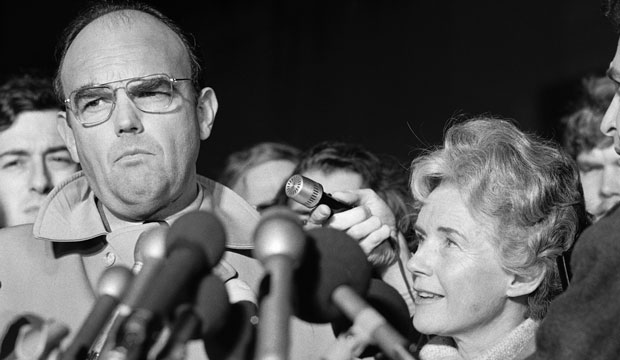 John Ehrlichman talks with reporters following his conviction in the Watergate scandal on January 1, 1975, in Washington, D.C.