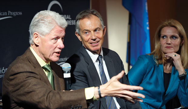Bill Clinton, Tony Blair, and Helle Thorning-Schmidt discuss progressive challenges at the Global Progress meeting at the United Nations in New York, December 2010.