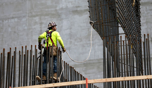 A construction worker is shown in Miami, Florida, on January 26, 2016.