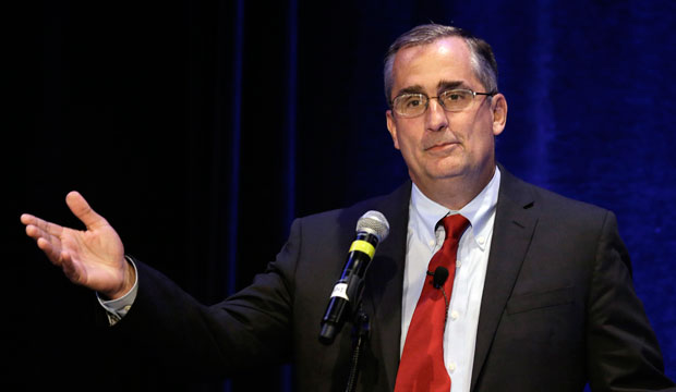 CEO of Intel Brian Krzanich speaks at the PUSHTech2020 summit on May 6, 2015, in San Francisco, California.