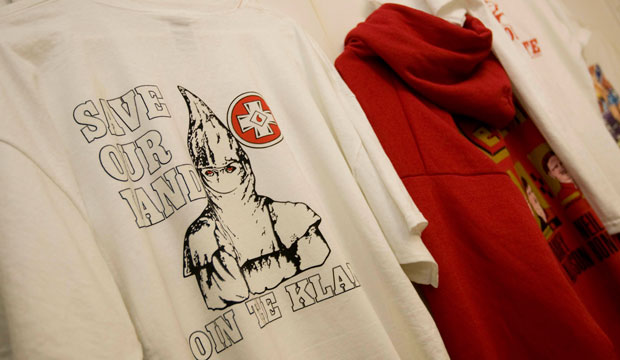 "A T-shirt with the words ""Save Our Land Join The Klan"" is displayed inside The Redneck Shop in Laurens, South Carolina, on February 27, 2008."