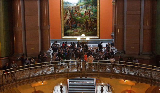 Students gather in the Illinois State Capitol to lobby their lawmakers against budget cuts affecting education spending on October 20, 2015.