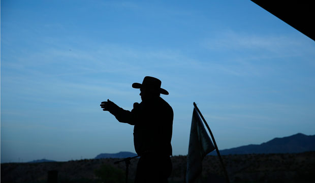 Rancher Cliven Bundy speaks at an event on April 11, 2015, in Bunkerville, Nevada.