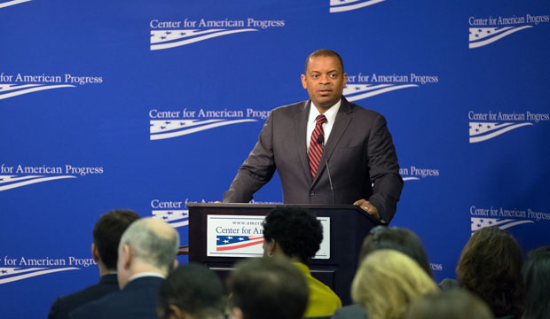 Transportation Secretary Anthony Foxx speaks at the Center for American Progress on Wednesday, March 30, 2016.