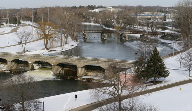 A view of the Flint River on February 18, 2016, in Flint, Michigan.