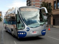 A new 35-foot-long electric hybrid bus