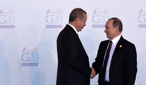 Turkish President Recep Tayyip Erdoğan, left, greets Russian President Vladimir Putin at the G-20 summit in Antalya, Turkey, on November 15, 2015.