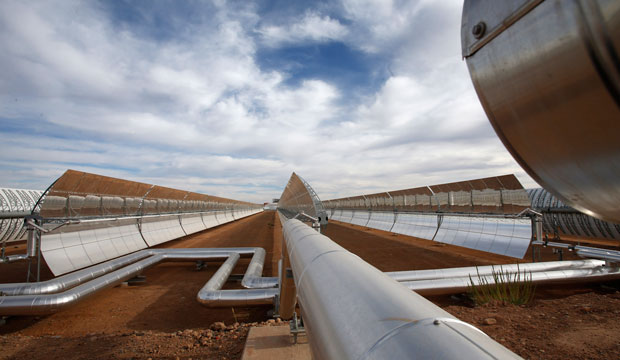 Construction of the Noor I solar power plant nears completion on April 24, 2015, by Ouarzazate, Morocco.