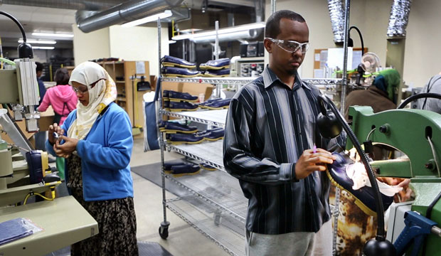 Abdi Said works at an L.L. Bean factory in Lewiston, Maine, on January 26, 2016.