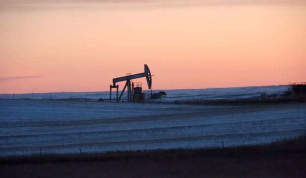 A pump jack is seen near New Town, North Dakota.