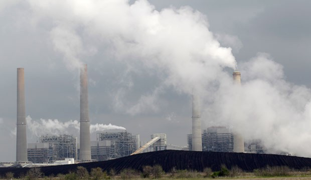 Exhaust rises from coal